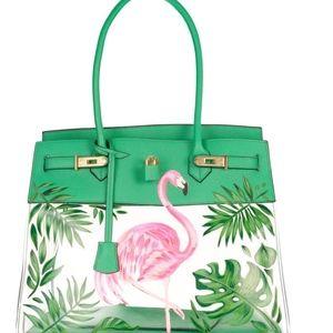 Handbags - Hand Painted Flamingo Bag